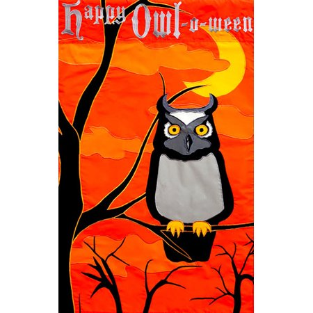Happy Owl-O-Ween Garden Flag Halloween Owls Scary Orange October 31st 12