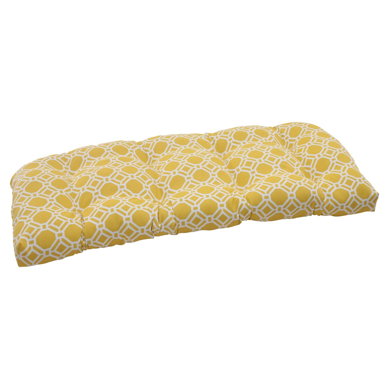 "44"" Yellow & White Octagonal Chain Outdoor Patio Tufted Wicker Loveseat Cushion"