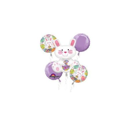 Anagram Easter Bunny Mylar Bouquet Decorations 5pc Balloon Pack](Bunny Balloon)