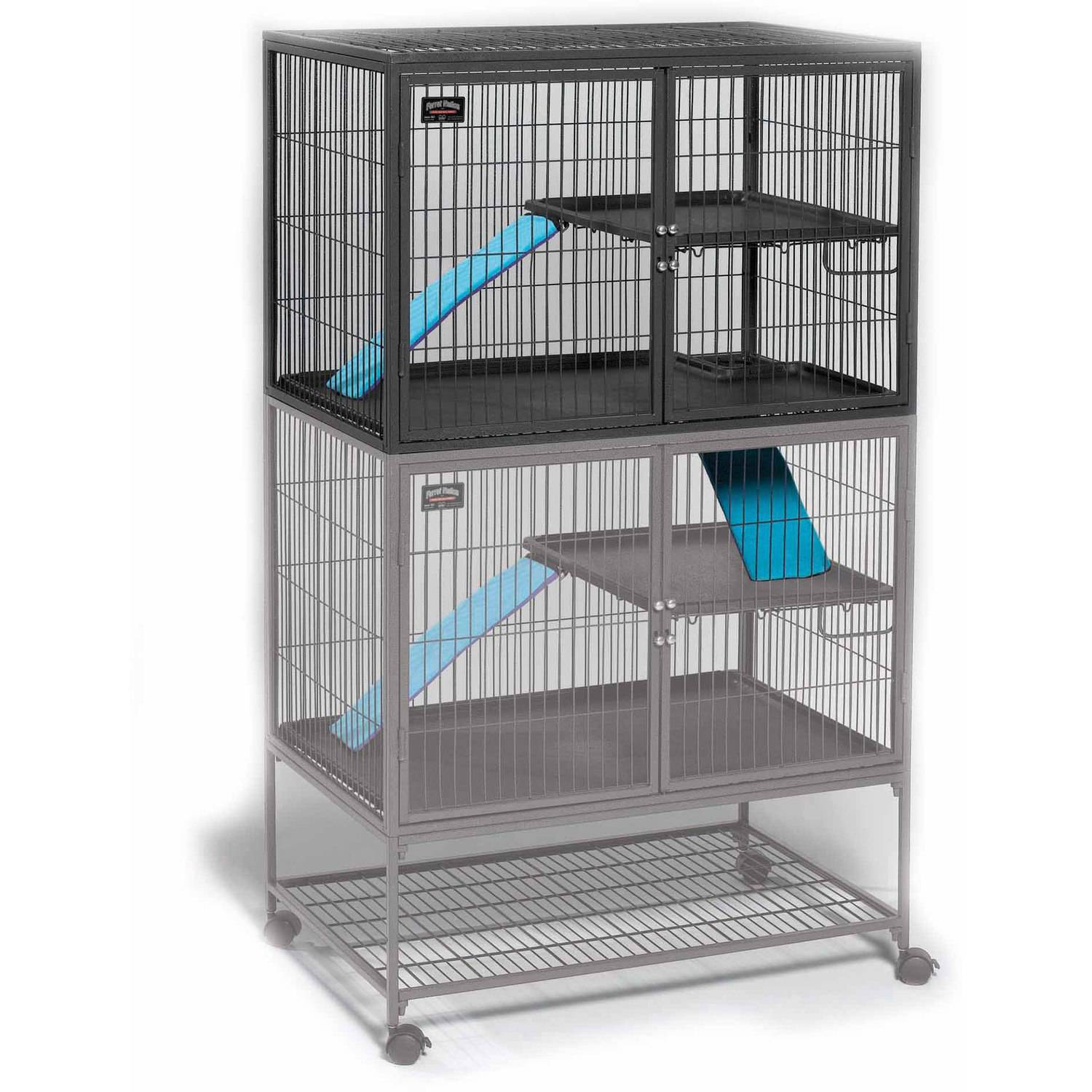 MidWest Deluxe Ferret Nation Add-On Unit Ferret Cage (Model 183) Includes 1 leak-Proof Pans, 1 Shelf, 1 Ramps w/ Ramp Cover. Compatible w/ Ferret Nation Models 181 & 182