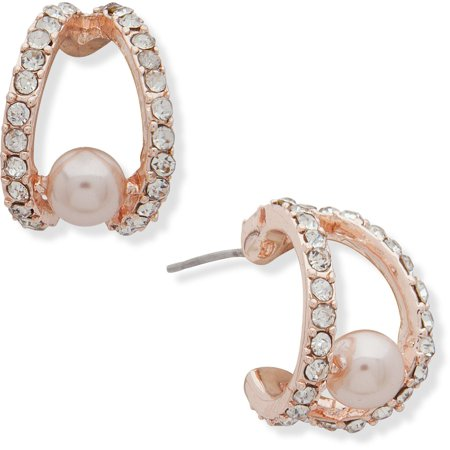 You're Invited Rose Gold Tone Faux Pearl Hoop Earrings One Size Rose gold tone Pearl Rose Earrings