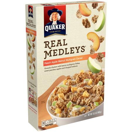 Quaker Real Medleys Breakfast Cereal  Peach  Apple   Walnut  15 5 Oz