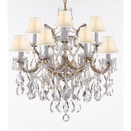 Maria Theresa Crystal Hanging Chandelier (Maria Theresa Chandelier With White Shades Dressed with Large, Luxe Diamond Cut Crystals )