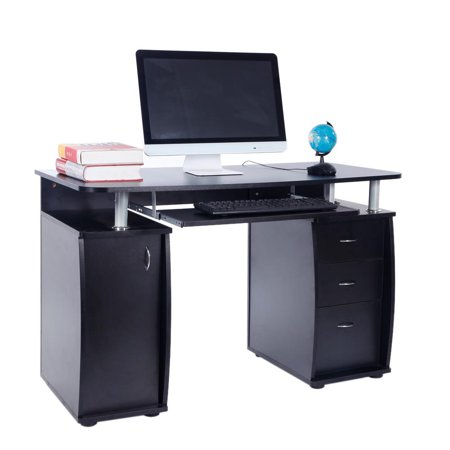 Zimtown Computer Desk Study Writing Table with 3 Drawers Home Office Storage Black ()
