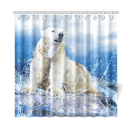 Mkhert Large Size White Polar Bear Shower Curtain Home Decor Bathroom Shower Curtain 66x72 Inch