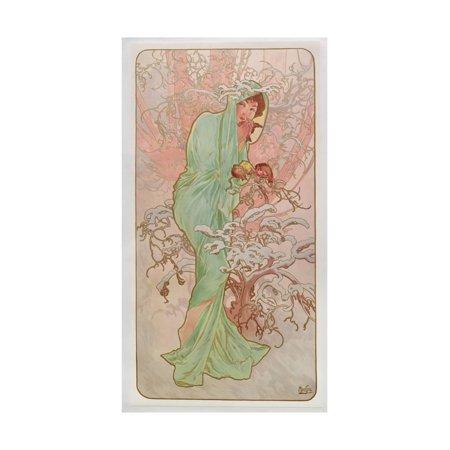 Alphonse Mucha Flowers - The Seasons: Winter, 1896 Print Wall Art By Alphonse Mucha