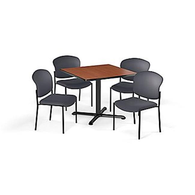 "OFM Multi-Use Break Room Package, 36"" Square Table with Fabric Guest Chairs, Oak Finish with X-Style Pedestal Base and Navy Seats (PKG-BRK-151)"