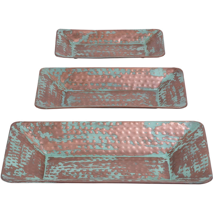 Decmode Metal Tray, Set of 3, Multi Color