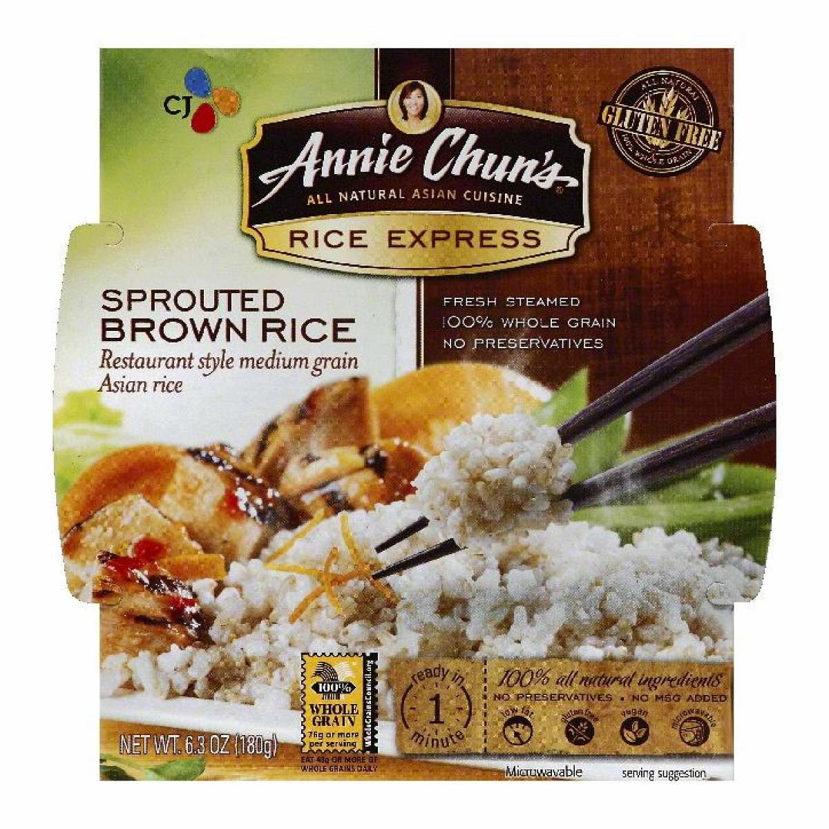 Annie Chun's Rice Express Sprouted Brown Rice, 6.3 Ounce Microwavable Bowls