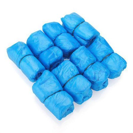 PWFE 100Pcs Disposable Shoe Cover Blue Anti Slip Plastic Cleaning Overshoes Boot Safety