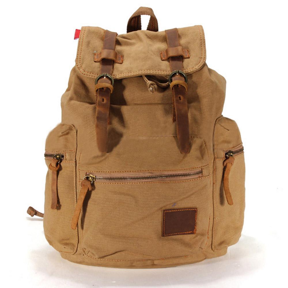 Unisex Leather Camping Hiking Bag Backpack Rucksack Travel Luggage Shoulder Bag