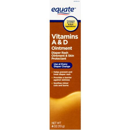 Equate Vitamins A & D Diaper Rash Ointment & Skin Protectant, 4 Oz