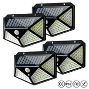Solar Lights Outdoor 100 Led, Waterproof Solar Powered Motion Sensor Lights Wall Mount Night Light, 4 Pack