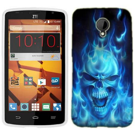 Mundaze Blue Flaming Skull Phone Case Cover for ZTE N817