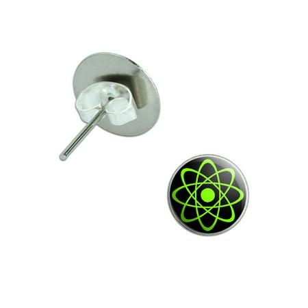 Atomic Symbol Green on Black Pierced Stud Earrings
