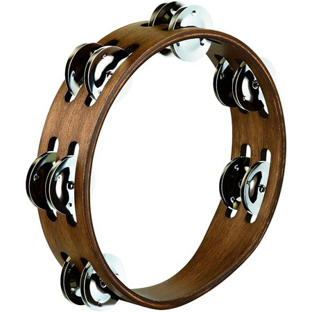 Meinl Black Tambourine (Meinl Compact Wood Tambourine with Double Row Stainless Steel Jingles 8 in. Walnut Brown )