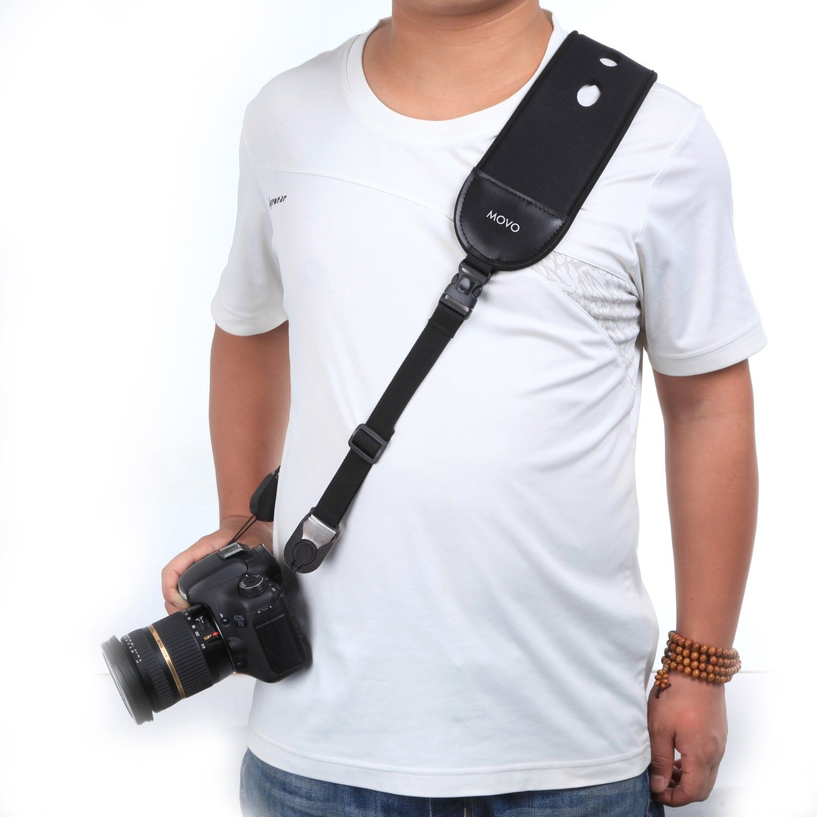 Movo Photo NS-9 Shock-Absorbing Camera Neck Sling Strap / Wrist Strap Combo System with Quick Release Discs