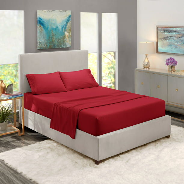 King Size Bed Sheets Set Burgundy Red, Luxury Bedding Sheets Set