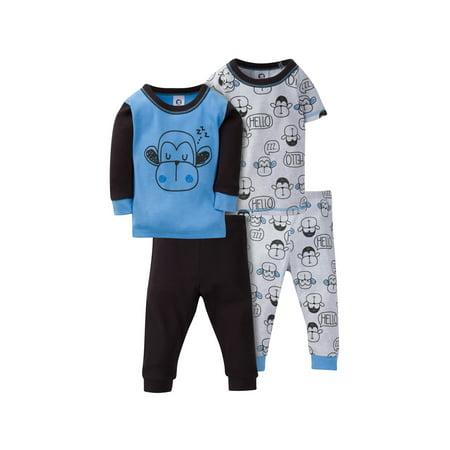 Gerber Mix N Match Cotton Tight Fit Pajamas, 4pc Set (Baby Boys & Toddler Boys)