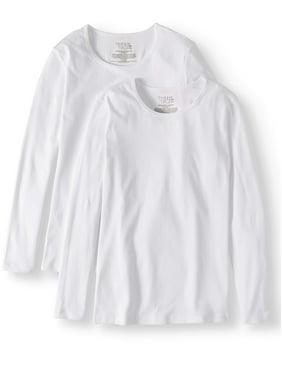 525a1bd3b00 Product Image Women's Long Sleeve Ribbed Crewneck T-Shirt, 2 Pack Bundle