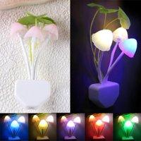 Outtop Romantic Colorful Sensor LED Mushroom Night Light Wall Lamp Home Decor