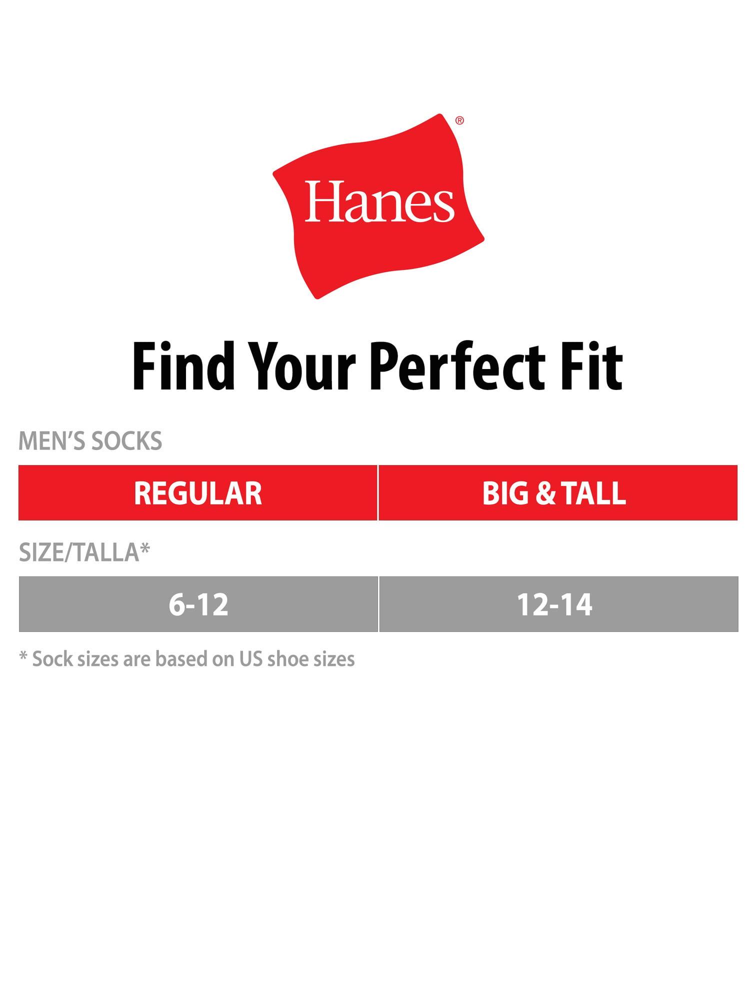 Hanes  Men/'s Cushion Crew  Black Socks 3 Pair Size 6-12