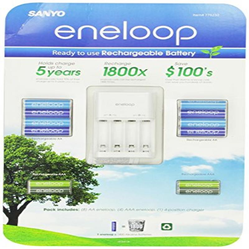 Sanyo Eneloop Ni-MH Charger & Battery Pack (8x AA, 4x AAA...