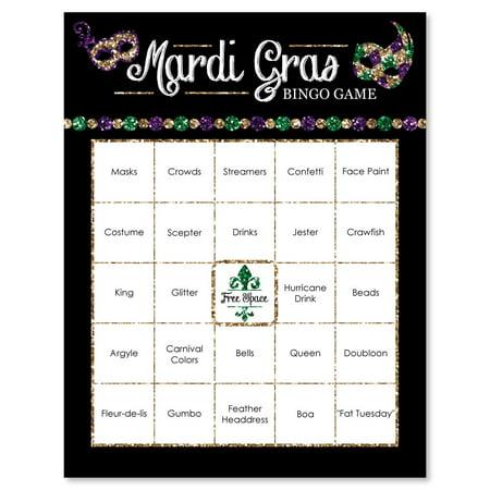 Mardi Gras - Masquerade Party Bar Bingo Cards - 16 Count - Masquerade Party Ideas