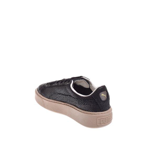 e02b8a60252a41 PUMA - puma basket platform lux sneaker - black - Walmart.com