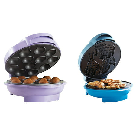 Brentwood Appliances TS-254 Nonstick Electric Food Maker (Cake Pop Maker) and TS-253 Nonstick Electric Food Maker (Animal-Shapes Waffle Maker) Bundle ()