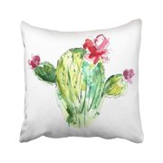 USART Colorful Botanical Watercolor Cactus with Flowers Green Botany Bright Cute Pillow Case Pillow Cover 16x16 inch Throw Pillow Covers