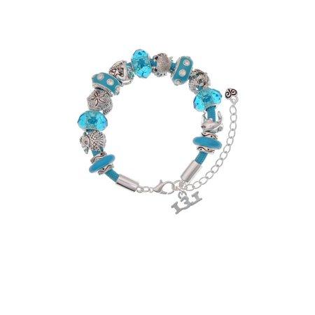 Silvertone Half Marathon 13 1 Hot Blue Summer Beach Bead Bracelet