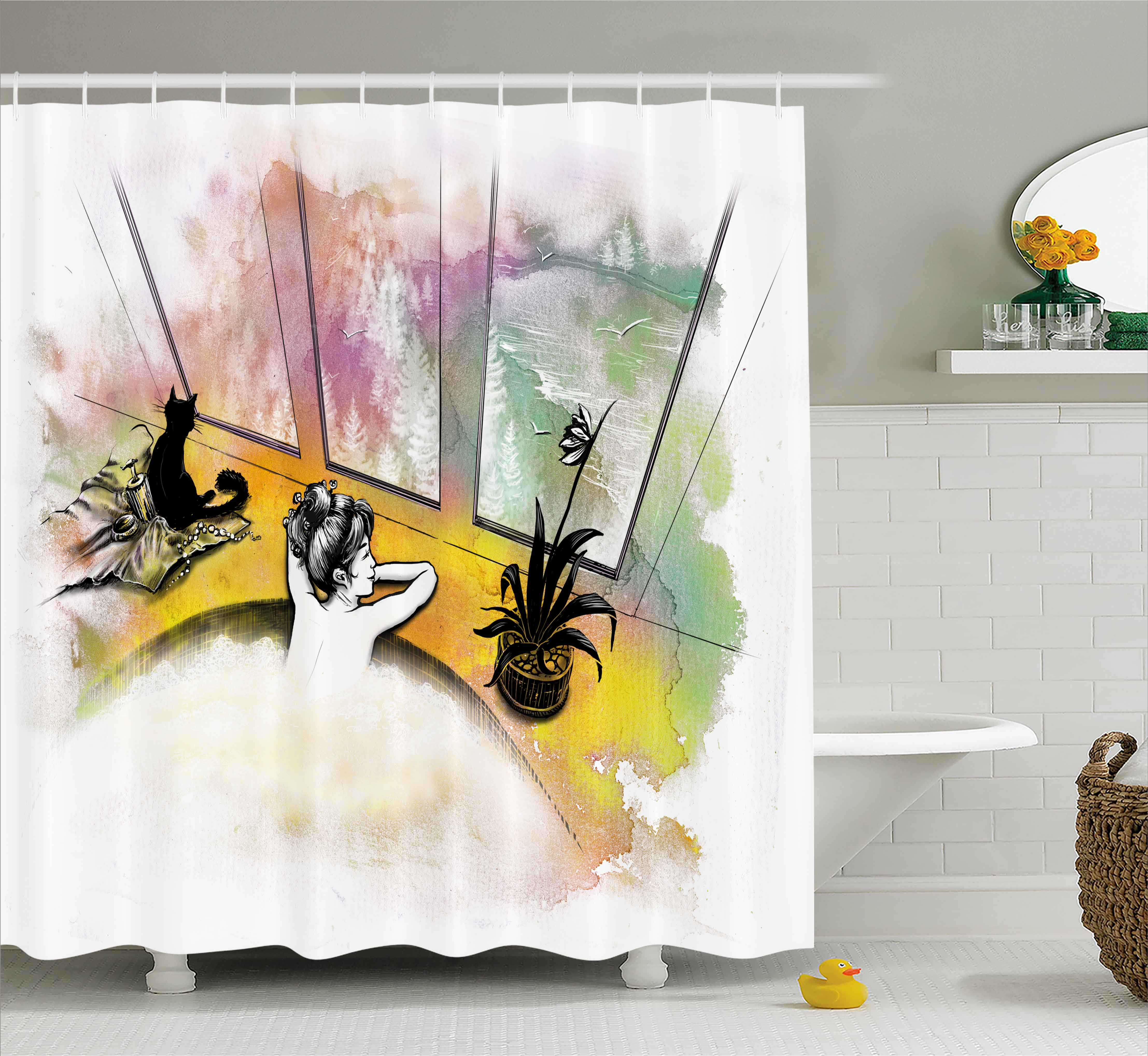 Modern Decor Shower Curtain, Girl with Cat Taking Bath in Spa Aroma Theraphy Relaxing Peaceful Illustration, Fabric Bathroom Set with Hooks, 69W X 84L Inches Extra Long, Multicolor, by Ambesonne