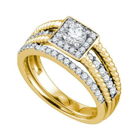 14kt Yellow Gold Womens Round Diamond Halo Bridal Wedding Engagement Ring Band Set 7/8 Cttw - image 1 of 1
