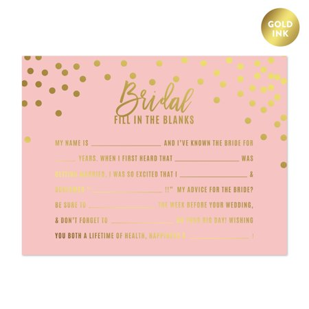 Blush Pink and Metallic Gold Confetti Polka Dots, Fill Advice for the Bride-to-Be Bridal Shower Game Cards, 20-Pack