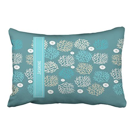 Winhome Rectangl Throw Pillow Covers Retro C Reef And Sand Dollar Beach Theme Personalize Customizable Pillowcases