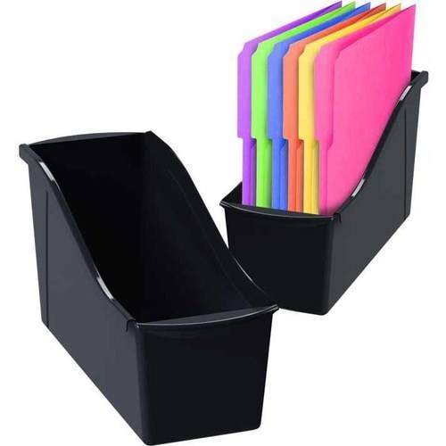 Large Book Bin With Front Pockets