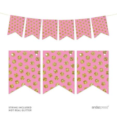 Pink Pennant Party Banner Gold Glitter Polka Dots - Polka Dot Party