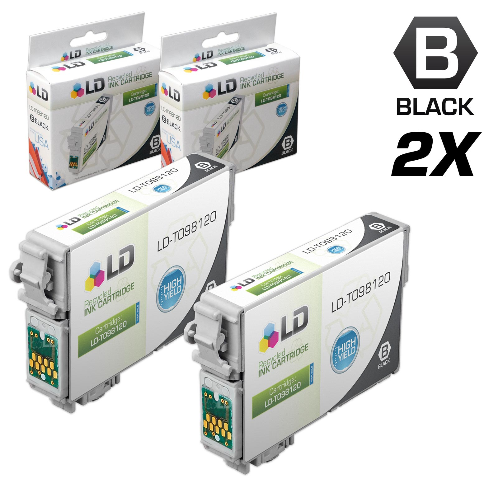 LD�� Remanufactured Replacements for Epson T0981 Set of 2 High Yield Ink Cartridges Includes: 2 Black T098120 for