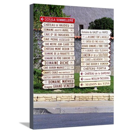 Road Signs to Wine Producers in Chateauneuf-Du-Pape, France Stretched Canvas Print Wall Art By Per