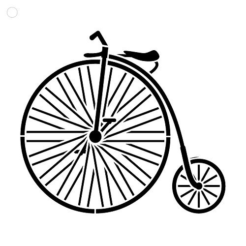 Big Wheel Bicycle Stencil by StudioR12 | Fun Vintage Art Small 6 x 6-inch Reusable Mylar Template | Painting,... by Studio R 12