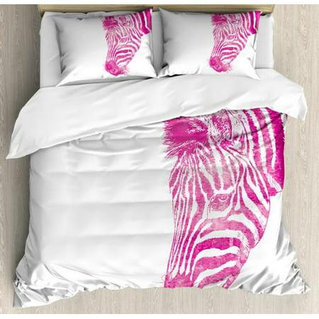 Pink Zebra King Size Duvet Cover Set, Head of Zebra Vibrant Portrait Watercolor Murky Aquarelle Watercolor Print, Decorative 3 Piece Bedding Set with 2 Pillow Shams, Magenta White, by Ambesonne ()
