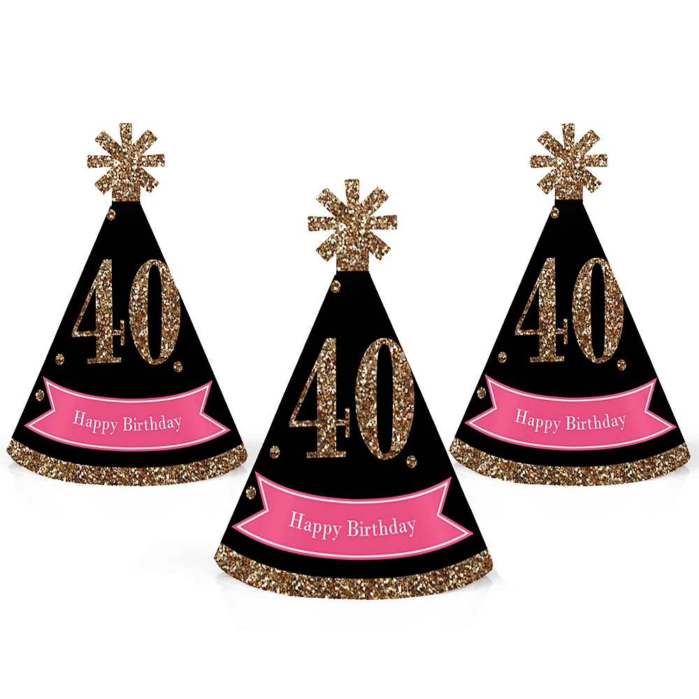 Chic 40th Birthday - Pink, Black and Gold - Mini Cone Birthday Party Hats - Small Little Party Hats - Set of 10
