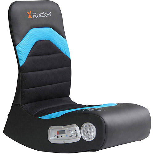 X Video Rocker Boomer 2.1 Wireless Audio Gaming Chair, Black/Blue, 5171901