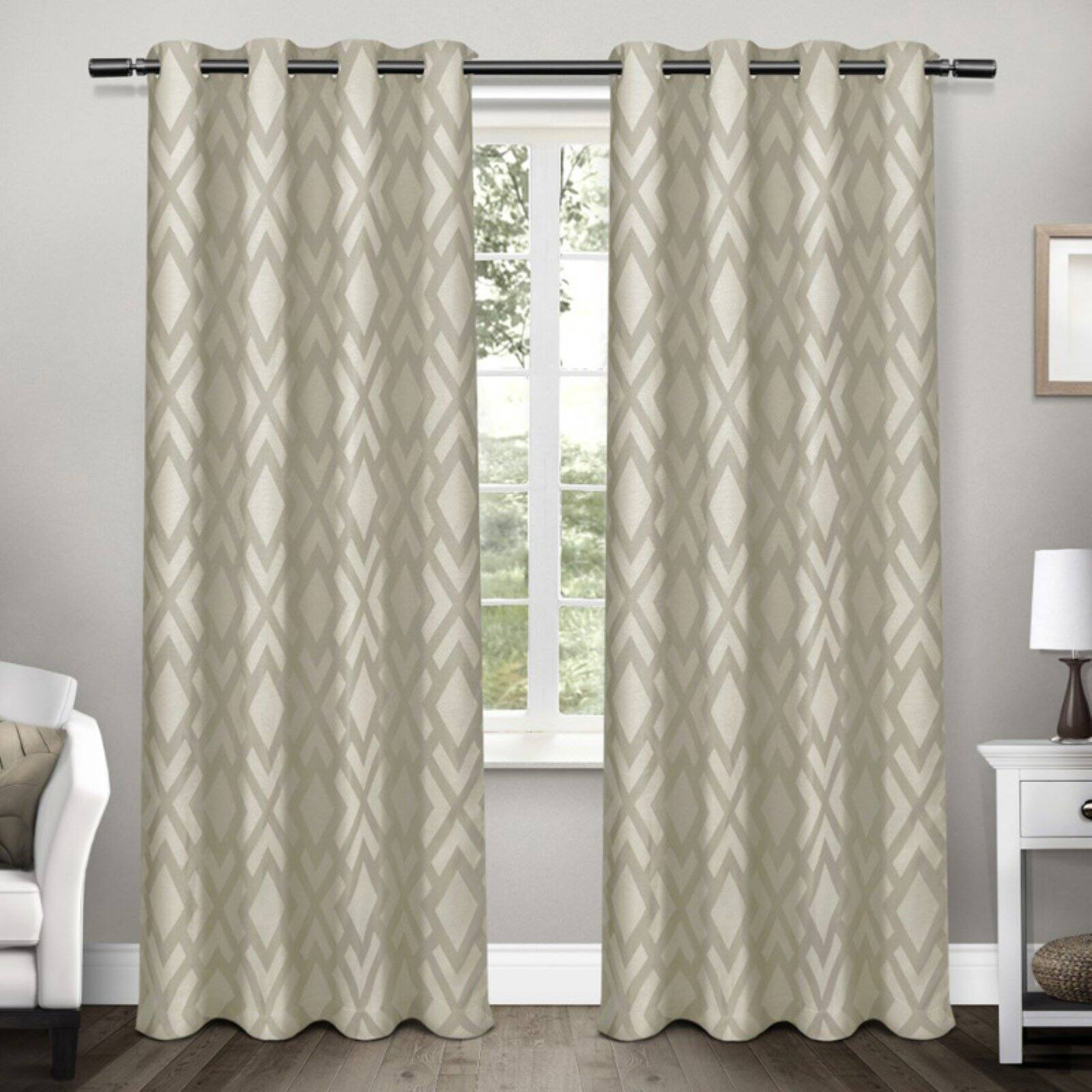 Exclusive Home Curtains 2 Pack Easton Jacquard Blackout Grommet Top Curtain Panels