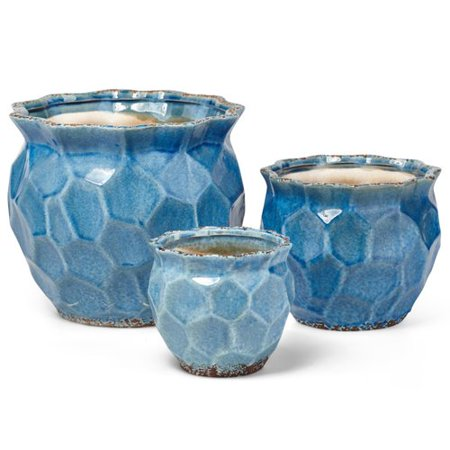 Nested Planter (Exclusive Ceramic Nested Round Planters, Blue (Set Of 3))