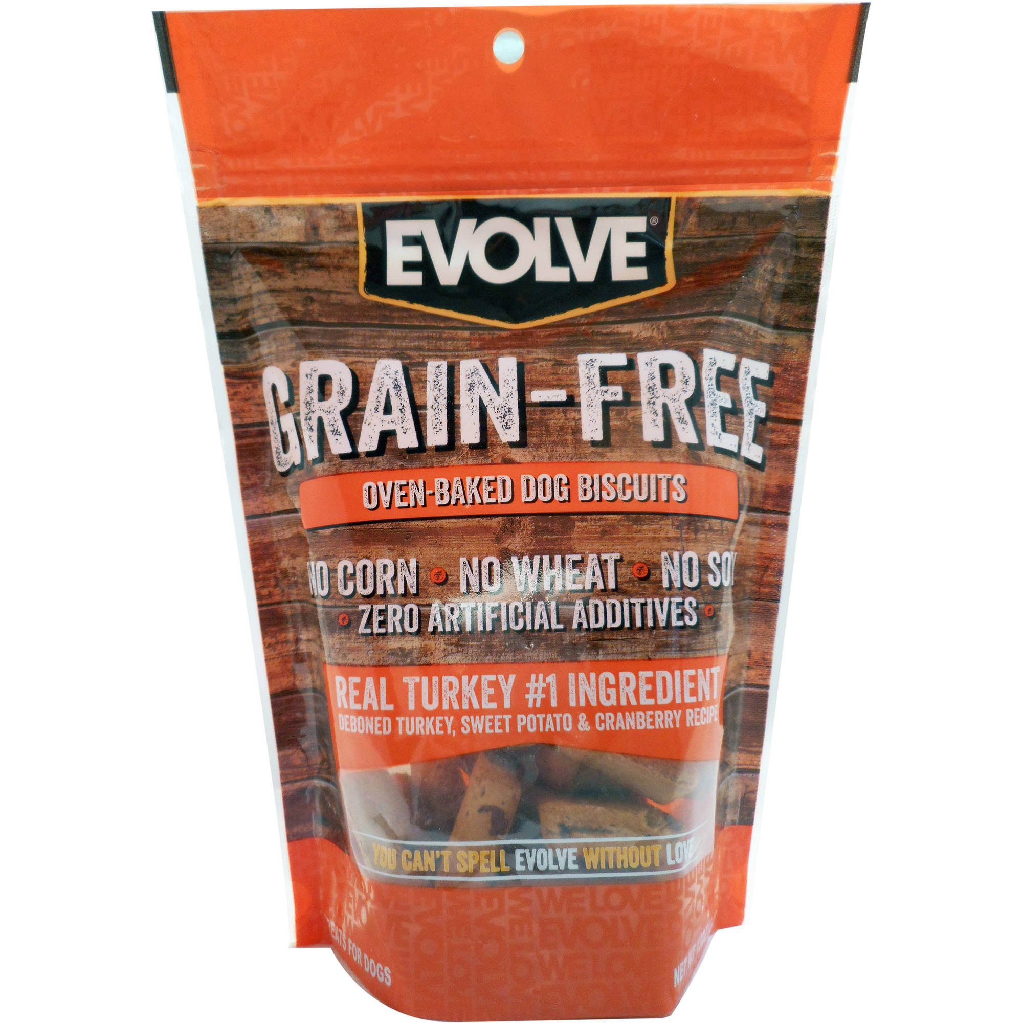 12oz Evolve Grain Free Turkey, Sweet Potato, and Cranberry Flavored Dog Biscuit