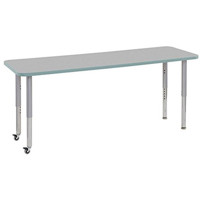 Early Childhood Resources ELR-14709-GYSFSVSL 24 x 72 in. Rectangular Contour Adjustable Activity Table with Super Leg, Grey, Seafoam & Silver