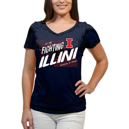 (Illinois Fighting Illini Scatter Doodle Women'S/Juniors Team Short Sleeve V Neck Tee Shirt)