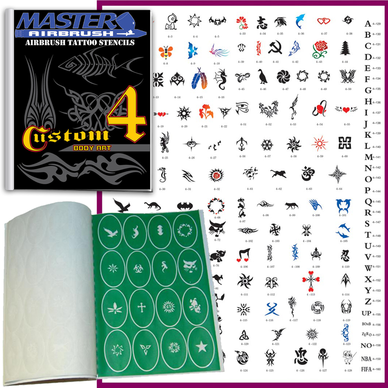 SET 4 BOOK 160 Reusable Airbrush Temporary Tattoo Stencil Art Designs Templates